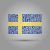 Flag of Sweden. Scratched texture. — 图库矢量图片