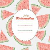 Endless watermelon texture, repeating fruit background. Text frame. — Stock Vector