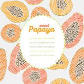 Text frame. Endless papaya texture, repeating fruit background. — Stock Vector
