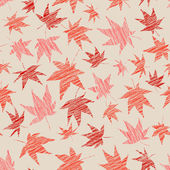 Fall background with scratched maple leaves. Seamless pattern. — Stock Vector