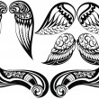 Постер, плакат: Angel wings Good set of different tattoo wings