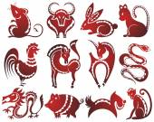12 Chinese zodiac signs — Stock Vector