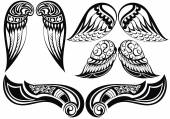 Angel wings.Good set of different tattoo wings — Stock Vector