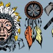 Brave American Indian warrior head for mascot and tattoo design elements — Stock Vector #58997089