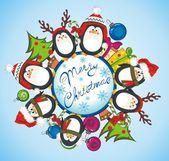 Veselé vánoční přání s tučňáci — Stock vektor
