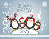 Christmas card with cute penguins — Stock Vector