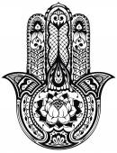Vector Indian hand drawn hamsa symbol — Stock Vector