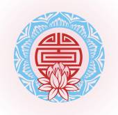 Frame with lotus.Oriental background — Stock Vector