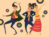 Hipsters retro party — Stock Vector