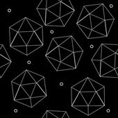 Geometric seamless simple monochrome minimalistic pattern of hexagon or icosahedron  shapes — Stock Vector