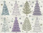 Kerstbomen op beije kreukelzones achtergrond, vector — Stockvector