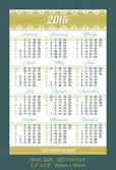 Pocket calendar 2015, with USA holidays — Stock Vector