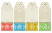 Christmas labels with snowflakes and wishes text, vector — Stock Vector