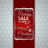 Red christmas background and label with sale offer, vector — Vector de stock