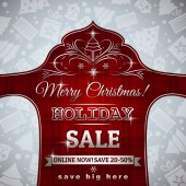 Red christmas background and label with sale offer, vector — Stockvector