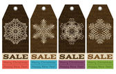 Vintage christmas labels with sale offer, vector — Stock Vector