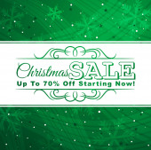 Green christmas background with label for sale, vector — Stockvector