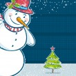 Background with snowman and one christmas tree, vector illustr — Stock Vector #54530525