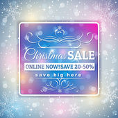 Grey  christmas background and  label with sale offer, vector — Stock Vector
