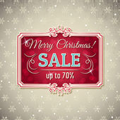 Christmas background and  label with sale offer, vector  — Stock Vector