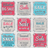 Christmas  labels with sale offer, vector illustration — Vettoriale Stock