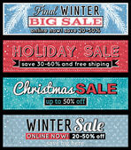 Christmas  banners with sale offer, vector illustration — Vettoriale Stock