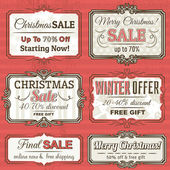 Christmas  labels with sale offer, vector illustration — Stock vektor