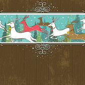 Running christmas deers in the forest — Stock Vector