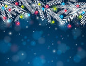 Background with  pine twig and christmas ball,  vector  — 图库矢量图片