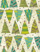 Christmas trees on beije background, vector illustration — Stock Vector