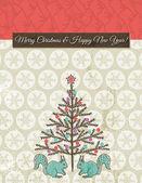 Background with christmas tree, vector — Stockvektor