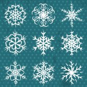 Hand made snowflakes on blue background, vector — Stock Vector