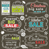 Christmas  labels with sale offer, vector illustration — Stockvector