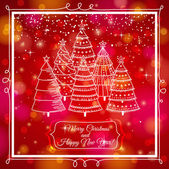 Red brightness background with forest of christmas trees, vector — Stock Vector