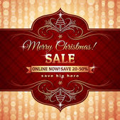 Red christmas background and label with sale offer, vector — Stockvektor