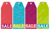 Color christmas labels with sale offer, vector — Stock Vector