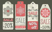 Crumple christmas labels with sale offer, vector — Stock Vector
