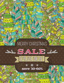 Background with christmas trees and label with sale offer, vecto — Vector de stock