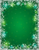 Green background with frame of snowflakes, vector — Stock Vector