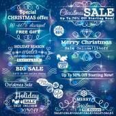Set of special sale offer labels and banners and blue christmas — Stock Vector