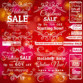 Set of special sale  labels and banners and red christmas backgr — Vecteur