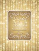 Golden christmas background and label with sale offer, vector — Stock Vector