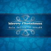 Blue christmas background and label with sale offer, vector — ストックベクタ