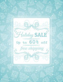Blue christmas background and label with sale offer, vector — Stock Vector