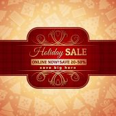 Red christmas background and label with sale offer, vector — Stock Vector