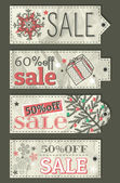 Crumple christmas labels with sale offer, vector — 图库矢量图片