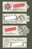 Crumple christmas labels with place for text, vector — Stock Vector