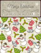 Background with christmas elements and label for message,  vecto — Stockvektor