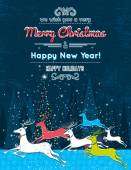 Running christmas deers in the blue forest and text message,  ve — Vetorial Stock