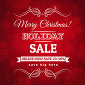 Red christmas background and label with sale offer, vector — Cтоковый вектор